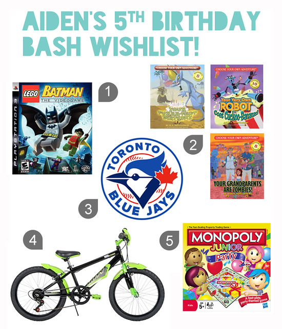 Aiden's birthday wishlist
