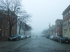 Thames Street in Fells Point on a foggy morning