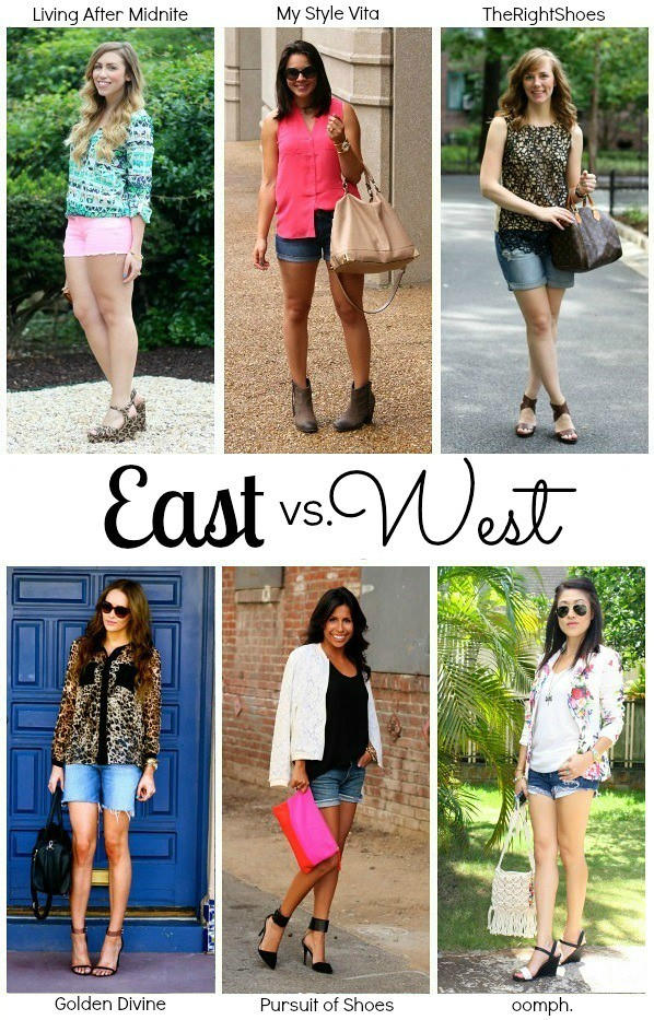 East vs West Collab Denim Shorts Living After Midnite