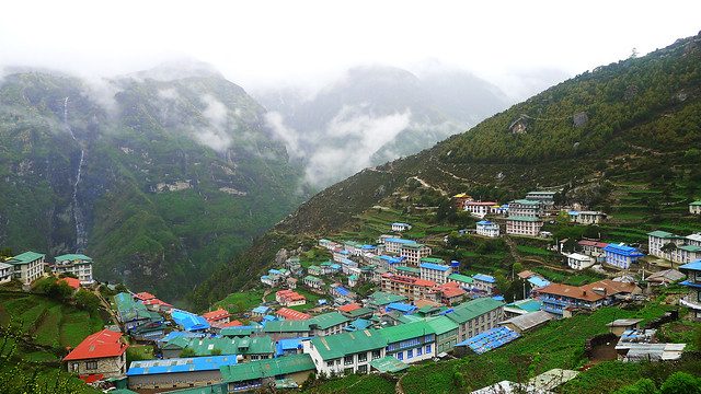 leaving Namche Bazaar