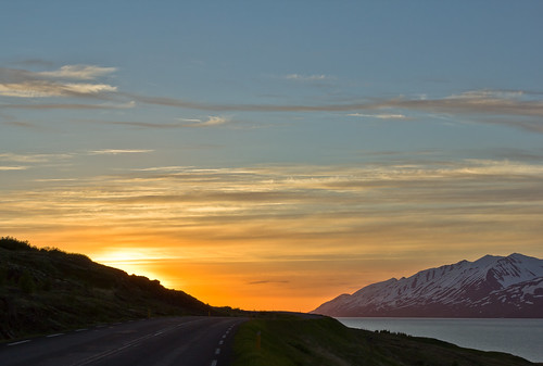 road sunset sea summer sky night clouds landscape iceland ngc national geographic eyjafjordur kaldbakur vividstriking einarschioth