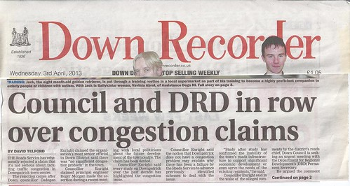 3rd April 2013 Dispute with Roads Service hits front page 1 by CadoganEnright