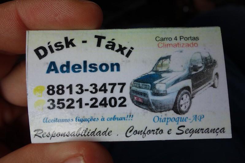 Cartão de visita da empresa de táxis