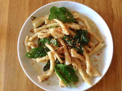 Strozzapreti with spinach and preserved lemon jake