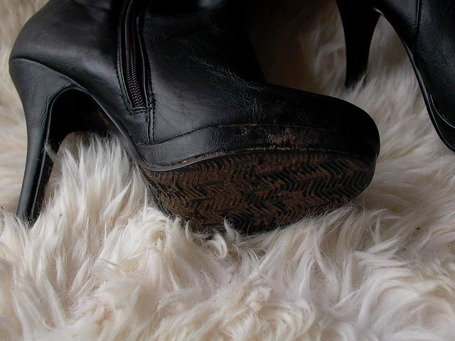 Dirty Boots On Fur Rug My Friend Took Off Her Dirty