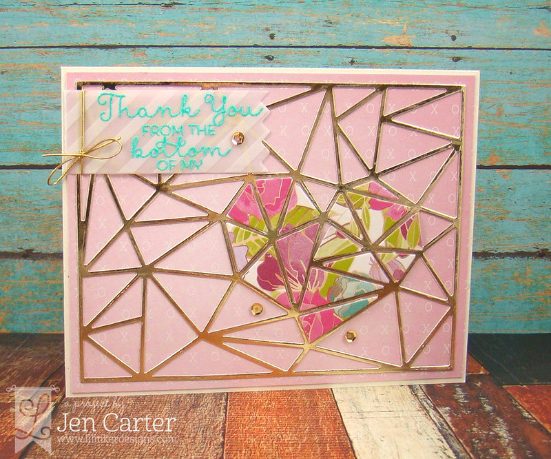 Jen Carter Faceted Heart Thanks Card Lil' Inker