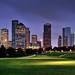 Houston Skyline and Eleanor Tinsley Park II by Rebecca Ang