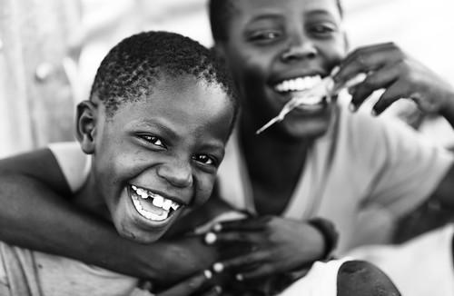 Kenya, happy orphans on Mfangano  Island, Lake Victoria