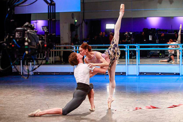 Marianela Nuñez and Vadim Muntagirov rehearsing La Fille mal gardée as part of World Ballet Day © 2016 ROH. Photograph by Charlotte MacMillan