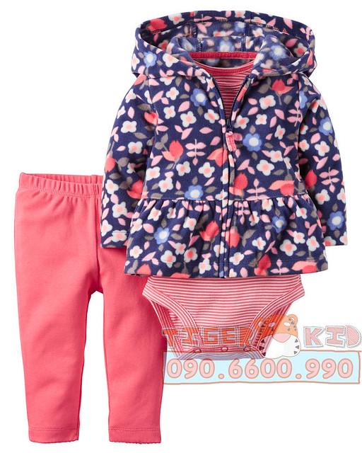 Quần áo trẻ em, bodysuit, Carter, đầm bé gái cao cấp, quần áo trẻ em nhập khẩu, Bộ set kèm áo khoác Carter's nhập Mỹ