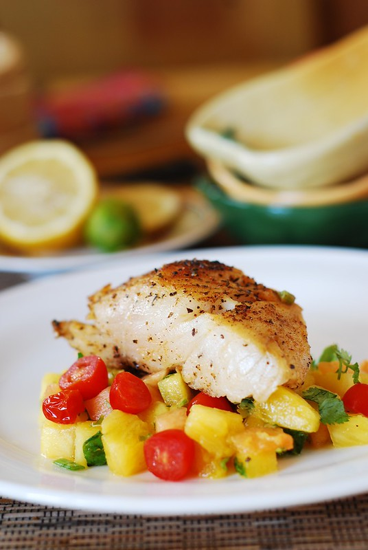 White fish with salsa (black cod with tropical fruit), seafood, halibut, mahi mahi, black cod, tilapia, sea bass
