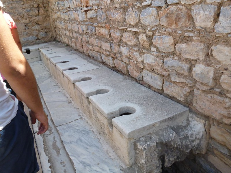 Public toilet in ancient Roman times