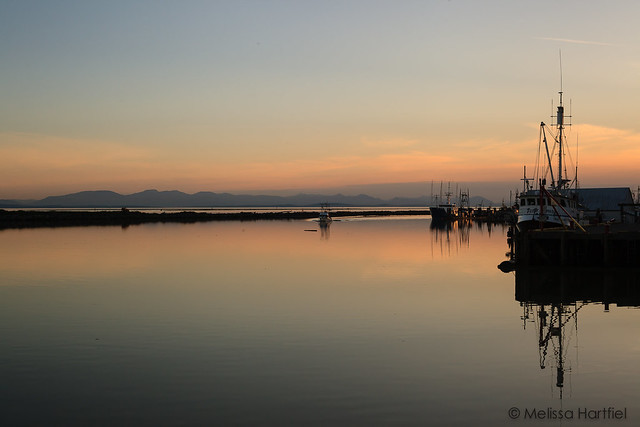 Sunset over fishing boats in Steveston