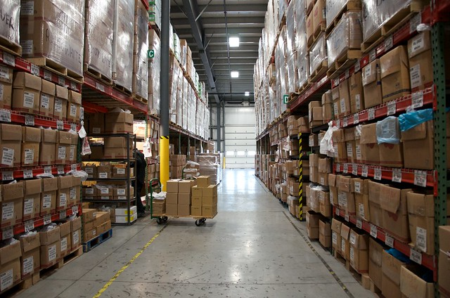down a warehouse aisle