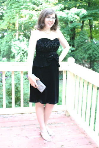 $4 vintage find: 80s does 40s black velvet peplum dress