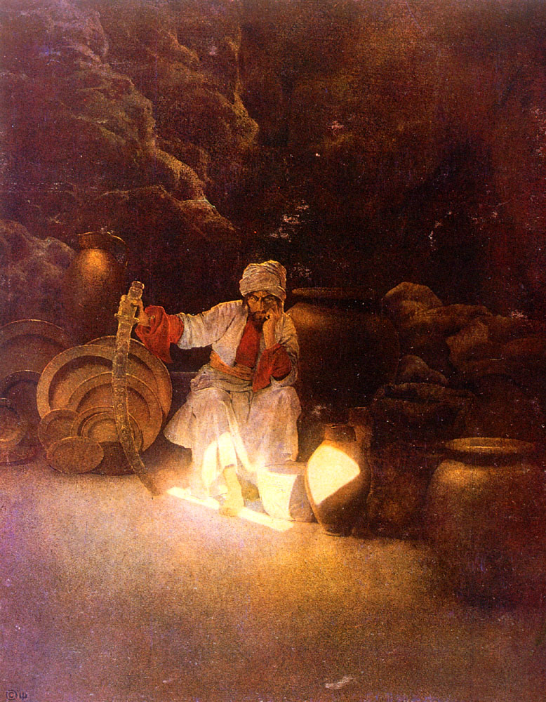 La cueva del tesoro. Obra de Maxfield Parrish (1870–1966)