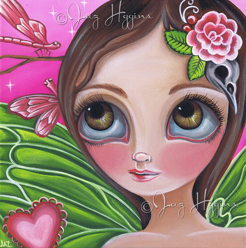 """Pink Dragonflies"" Original Painting by Jaz Higgins"