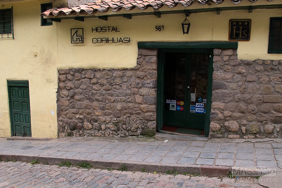 The street entrance to the charming 'Hostal Corihuasi'.