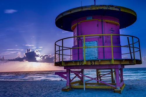 ocean sea beach sunrise florida miami lifeguard artdeco miamibeach southbeach sunbeams sobe
