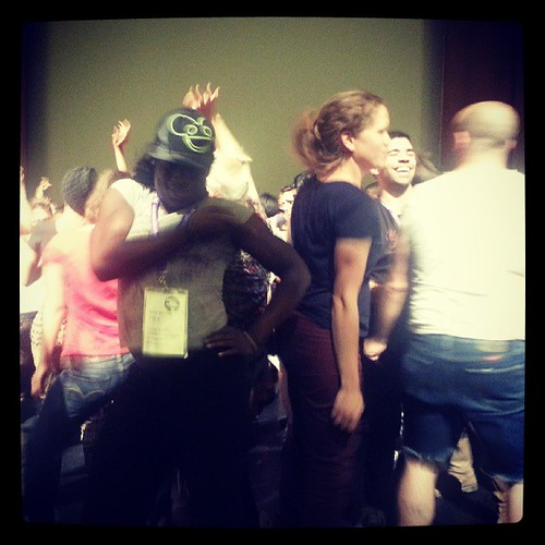 Folks workin it out after rushing the stage to dance at opening ceremony #amc2013 #detroit June 21, 2013