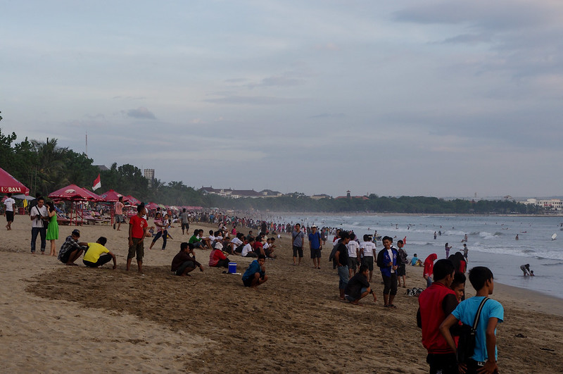 Locals took over Kuta Beach at sunset
