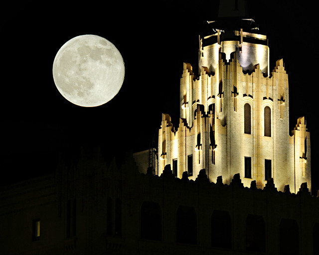 Supermoon over Francis Towers