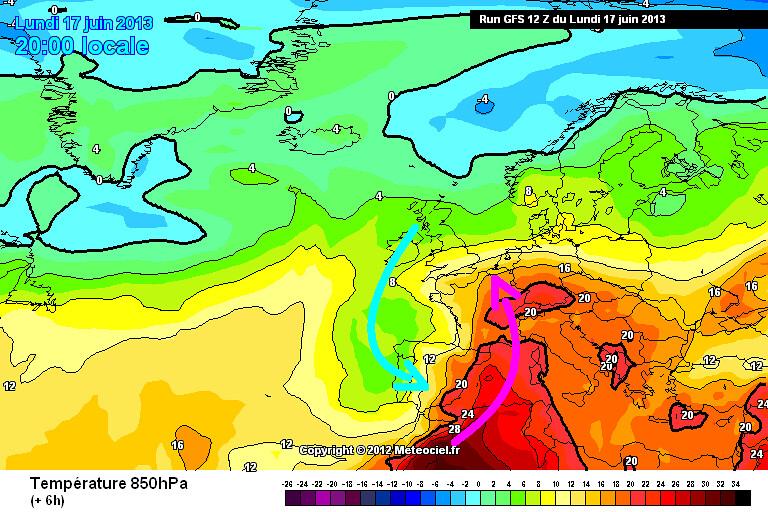 carte des masses d'air du record de douceur ou chaleur pour une température minimale le 18 juin 2013 au Cap Corse météopassion