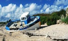 blauw witte boot