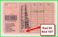 Kod 03 oraz 107 ograniczeń prawa jazdy