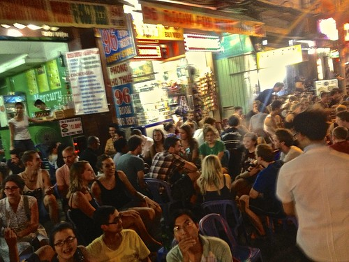 the cheapest place for beer in Saigon… very popular spot. everyone is served on the street