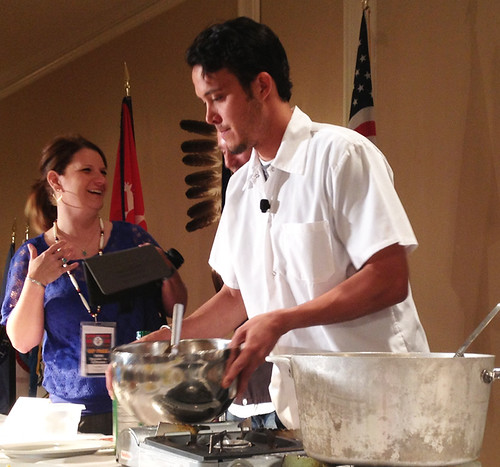 Tocabe puts on a live cooking demo for attendees of the National Food Distribution Programs on Indian Reservations (FDPIR) Conference. The demo showed how USDA Foods could be used to combat health issues like obesity and diabetes. Photo courtesy of Sara Hernandez, AMS