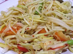 fried noodles(0.0), bucatini(0.0), salad(1.0), vegetable(1.0), italian food(1.0), pancit(1.0), spaghetti(1.0), spaghetti aglio e olio(1.0), green papaya salad(1.0), produce(1.0), food(1.0), dish(1.0), chinese noodles(1.0), carbonara(1.0), vermicelli(1.0), cuisine(1.0), chow mein(1.0),
