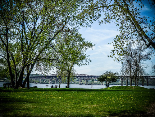 park bridge trees water leaves scenery waterfront riverside scenic hudsonriver serene riverfront 1001nights springtime waterscape cantilever 1001nightsmagiccity hamiltonfishnewburgh–beaconbridge beaconnewyorkriverfront newburgh–beacon peteandtoshiseegerriverfrontpark