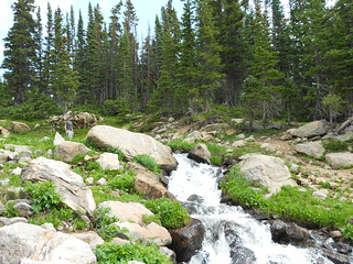 Tilden Crossing a Waterfall in King Lake Drainage