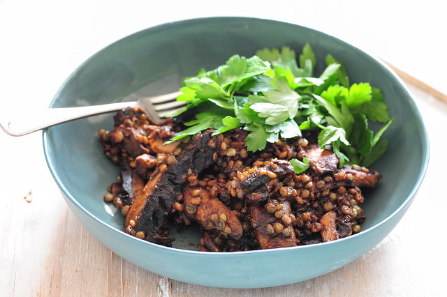 mushrooms with lentils-3