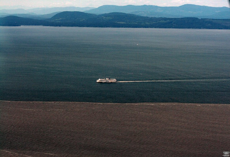 A BC ferry crosses the Strait of Georgia near the Fraser River outflow boundary.