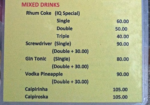 The more alcohol, the cheaper it gets with Filipino Rum. at Kokay's Maldito on Malapascua.