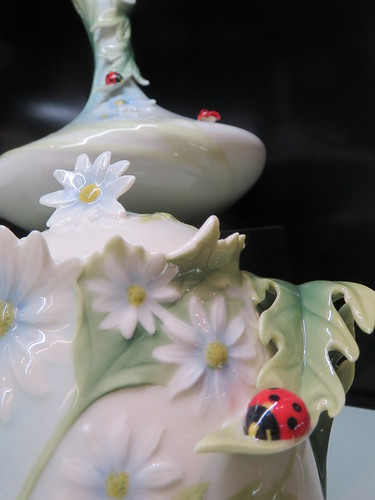 Ceramic Floral and Ladybug Scene