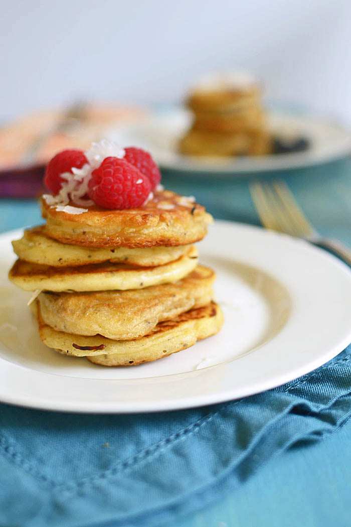 Coconut Chia Pancakes via LittleFerraroKitchen.com