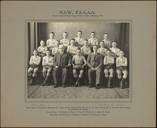 N.S.W P.S.A.A.A Primary Schools Rugby Leauge Team v Q'ld [Queensland] at Brisbane, 1935