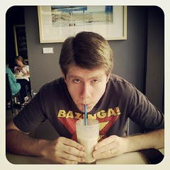 This banana and honey smoothie is apparently quite excellent #labourday #breakfast #newcastle #elementscafe