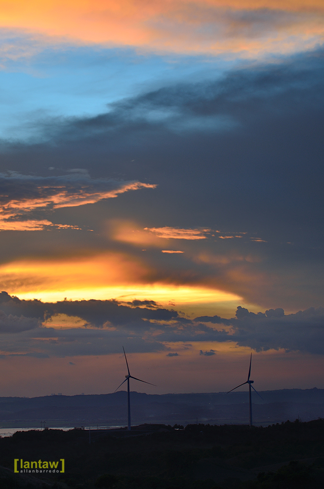 Pililla wind turbines at sunset