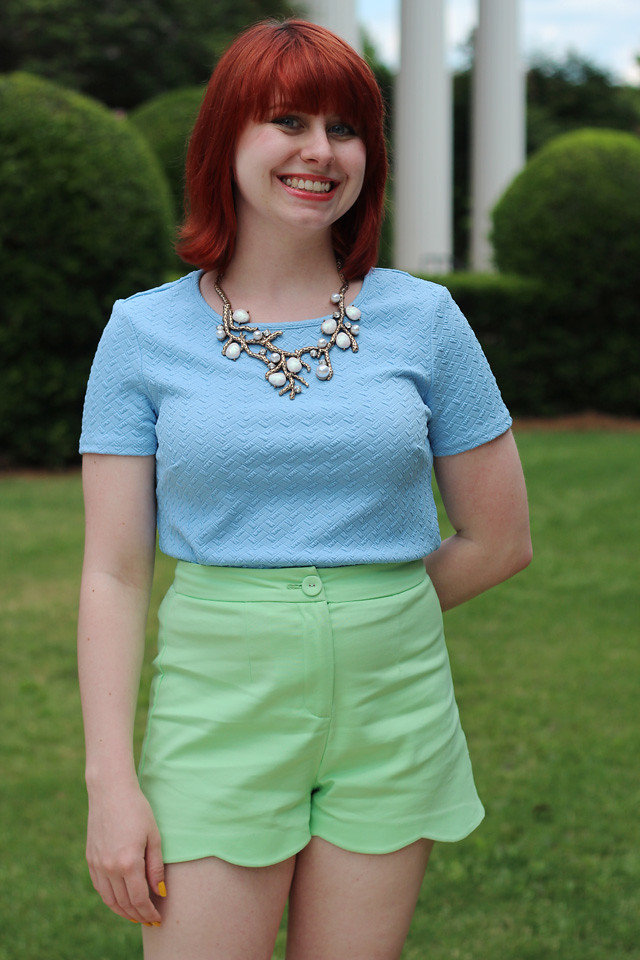 Blue Textured Top, Tree Branch Necklace, and Green Shorts