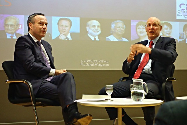 Lionel Barber interviewing Hank Paulson at LSE Saw Swee Hock Southeast Asia Centre public conversation re book