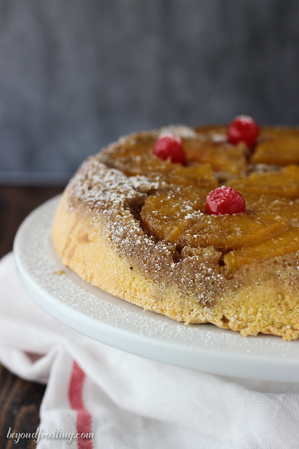 Indulge in this classic Pineapple Upside Down Cake, just like your grandma used to make it! A classic brown sugar crust with a light vanilla cake.