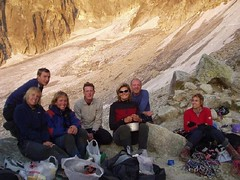Meeting up with some other climbers on the way back down for some food. Image