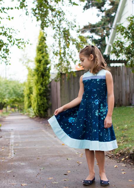 banded blue building block dress