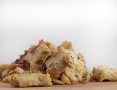 Cooked marinated pork pieces and yellow basmati ri…