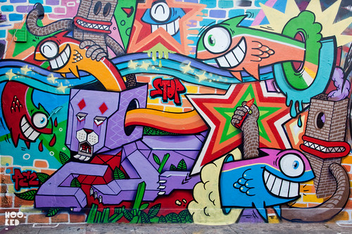 DIBO & PEZ, Streetart Mural in Shoreditch, London. 2012 Photo ©Hookedblog / Mark Rigney