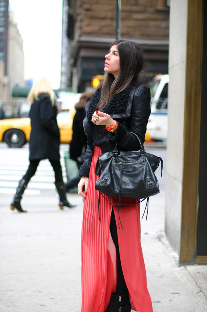 New York Fashion Week, Topshop Ambush boots, Pleated Maxi Skirt, Balenciaga Classic City day bag